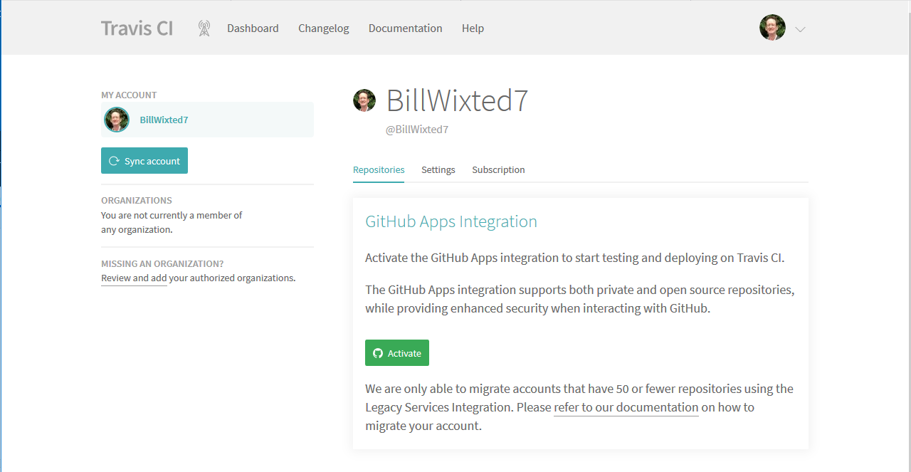 Activate GitHub Apps Integration in Travis