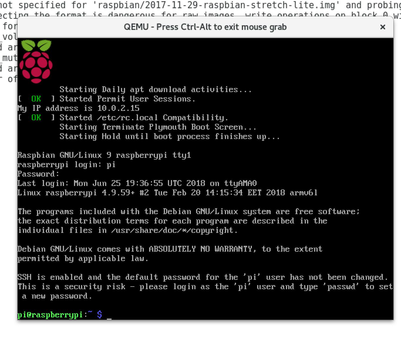 Ouverture d'une session avec l'utilisateur pi