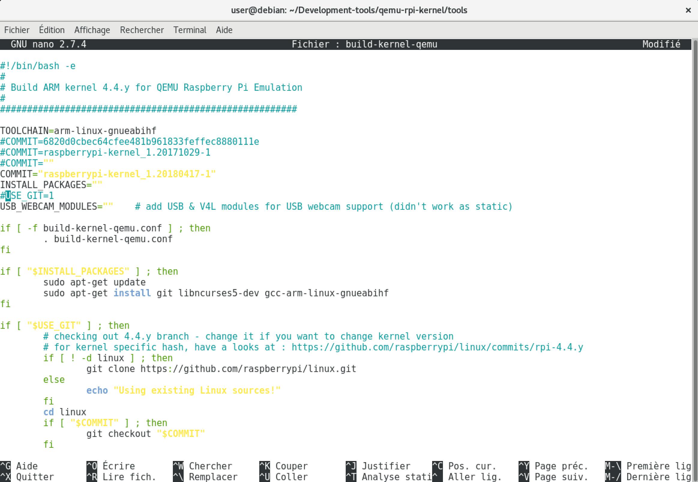 Modification du fichier build-kernel-qemu