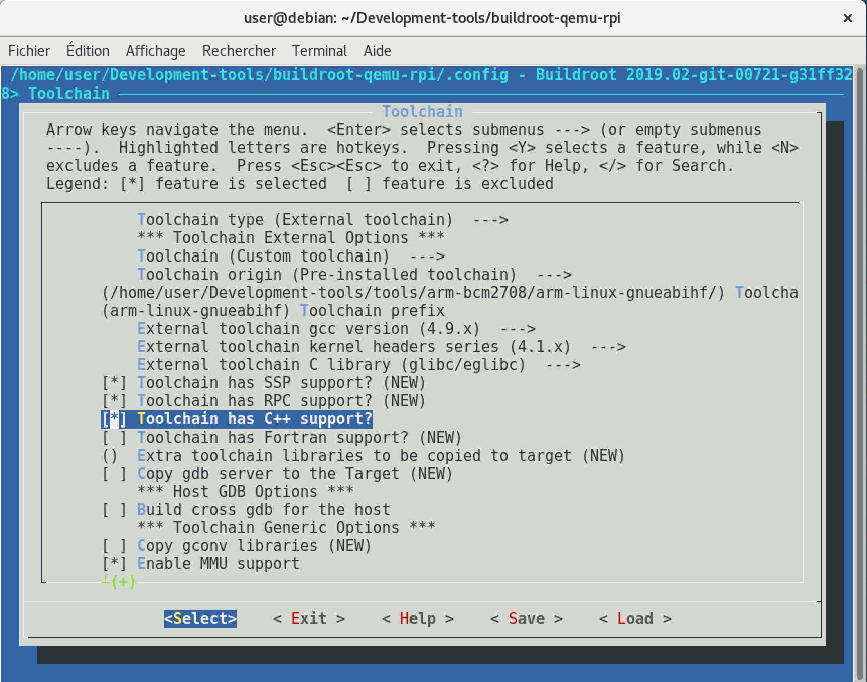 Utilisation de la chaîne de cross-compilation pré-installée