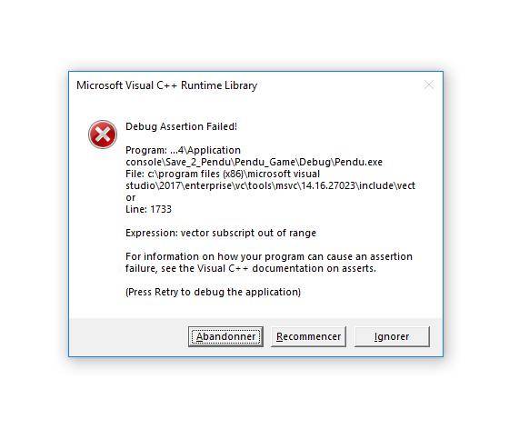 Résolu] Debug Assertion Failed! | Visual Studio 2017