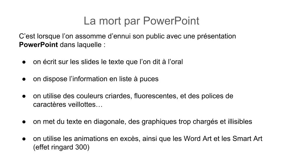 La mort par PowerPoint !