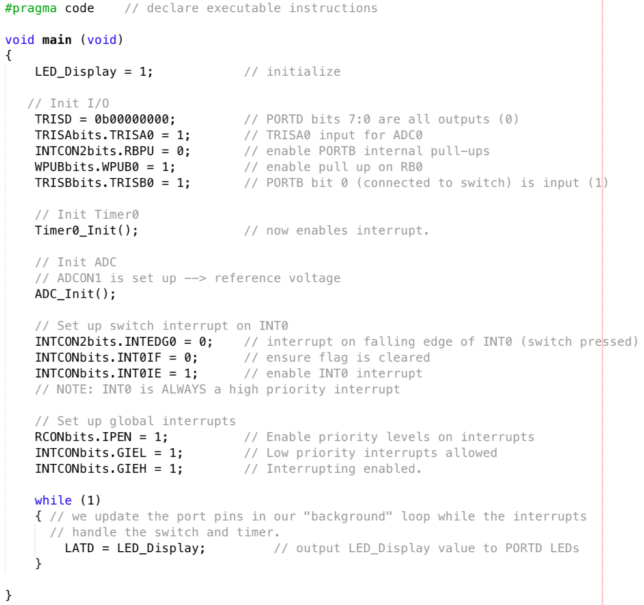 Code principal avec l'usage d'interruptions