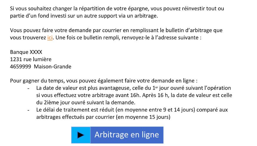 Exemple d'informations à apporter concernant l'arbitrage