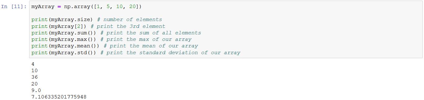 some numpy array's methods