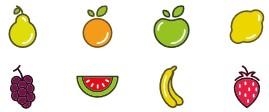 Une poire, une orange, une pomme, un citron, du raisin, une pastèque, une banane, une fraise.
