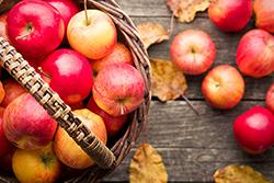 Un panier de pommes rouges sur une table en bois.