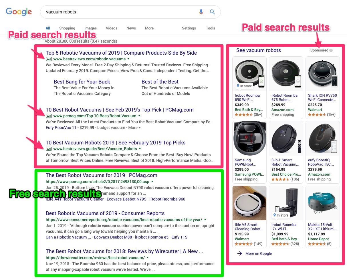 A page displaying Google search results