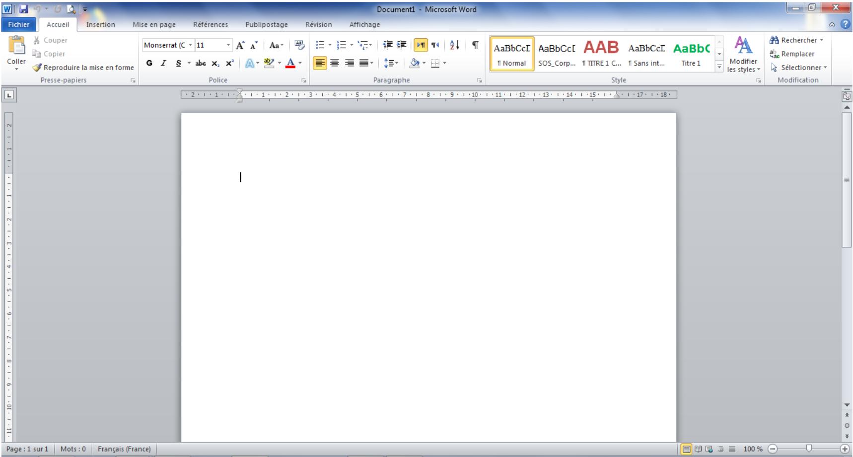 L'interface de Microsoft Word