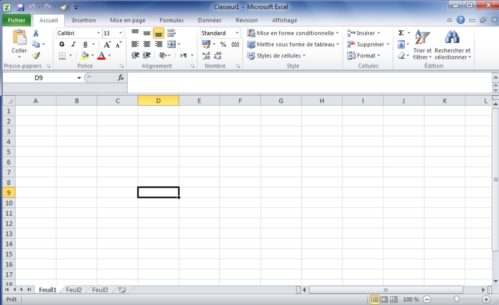 L'interface de Microsoft Excel