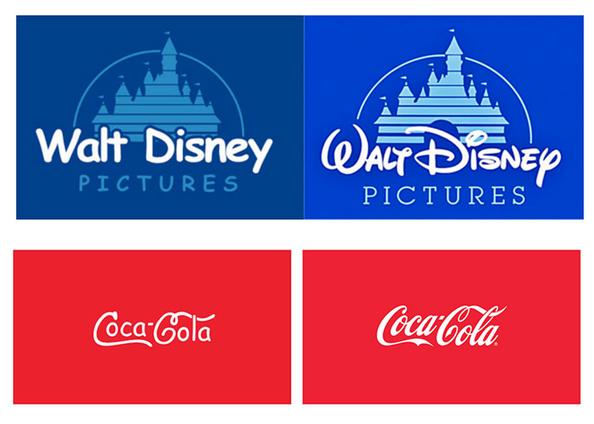 Les logos de Walt Disnet et de Coca Cola avec une autre police