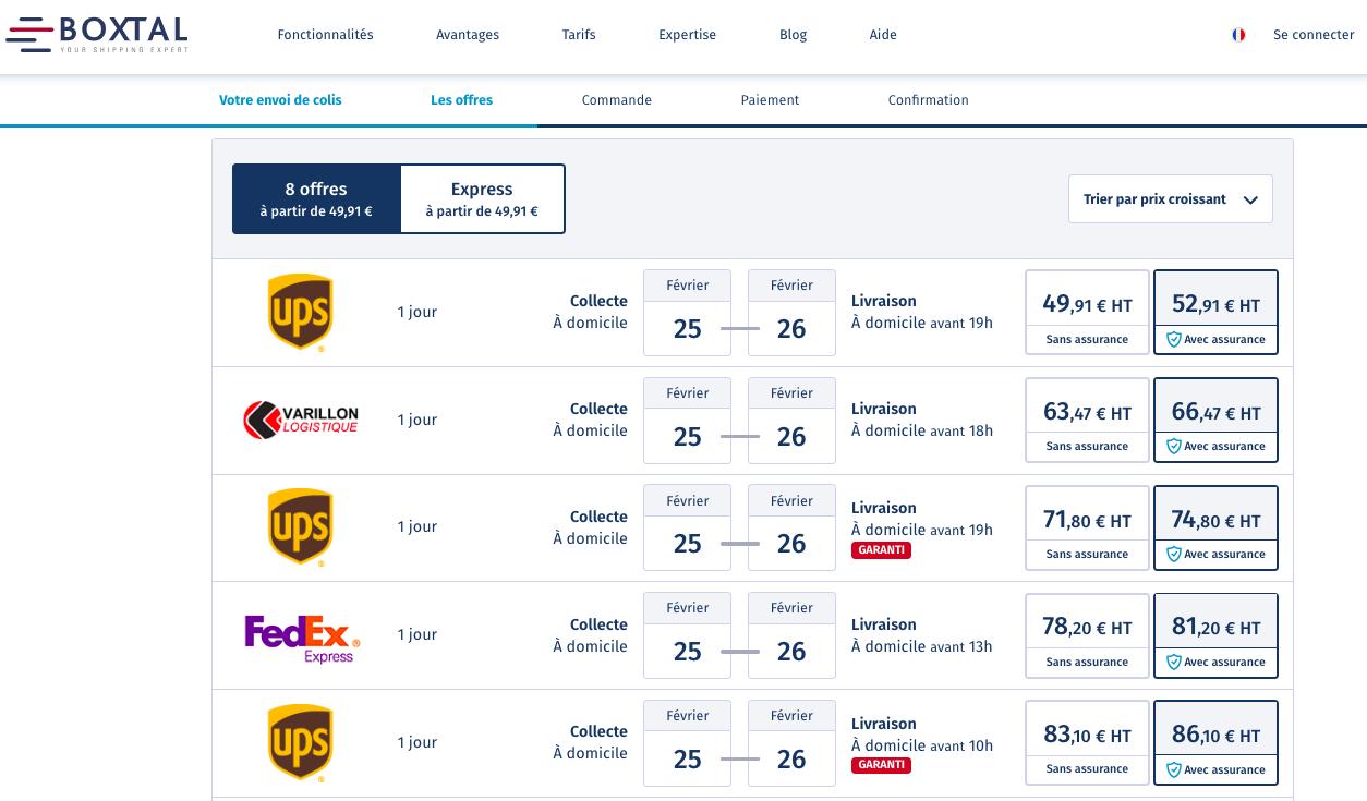 Exemple d'un site de comparaison sur l'envoi de colis entre Paris et Lyon