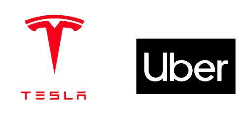 Logos Tesla et Uber