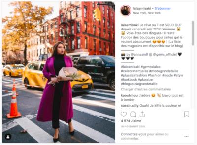 Post Instagram où l'on voit l'influenceuse Lalaamisaki porter les vêtements de la marque Gemo.