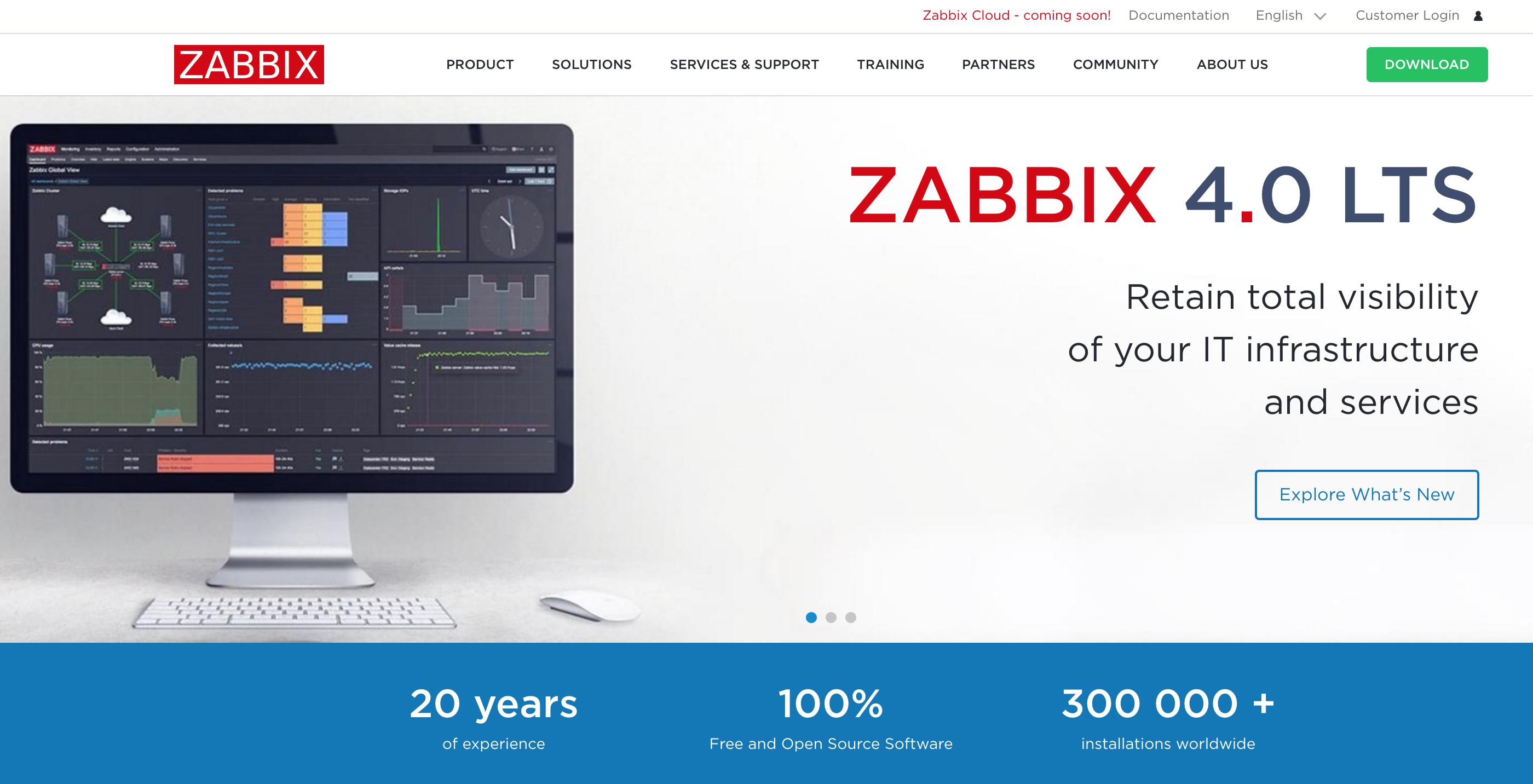 Page d'accueil de Zabbix
