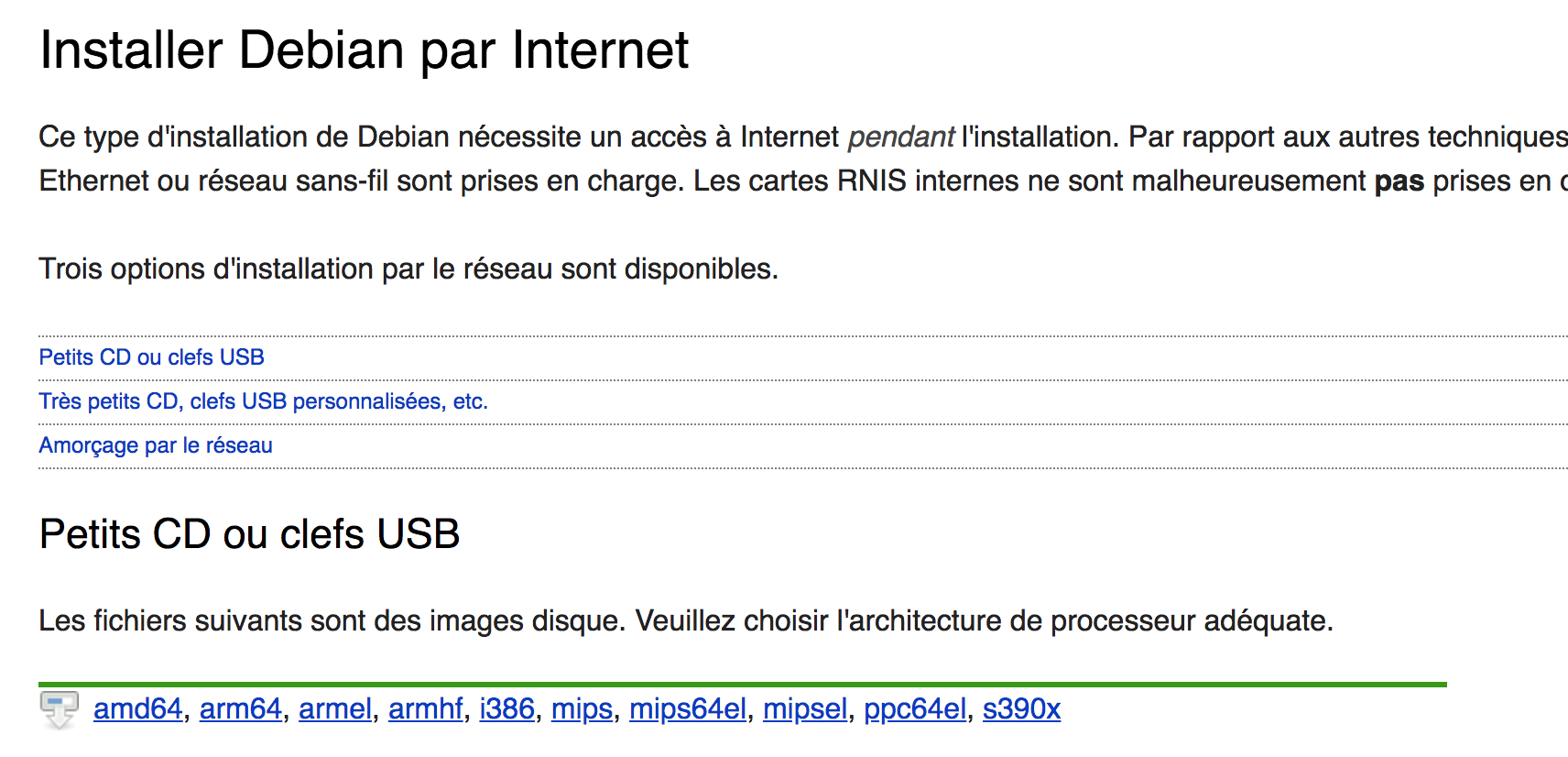 Installez Debian par internet