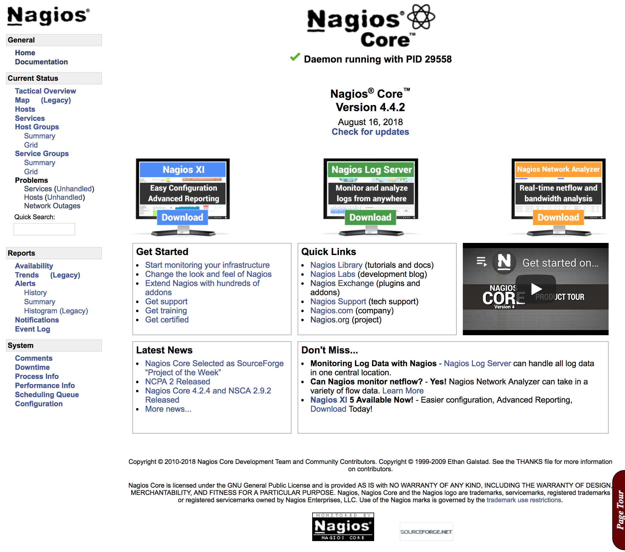 Interface d'administration de Nagios