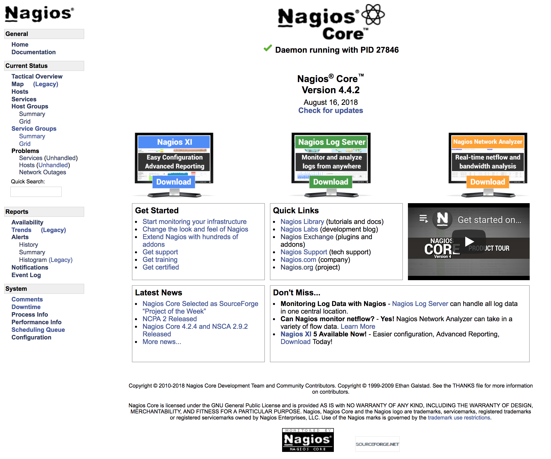 Page d'accueil de l'interface d'administration de Nagios