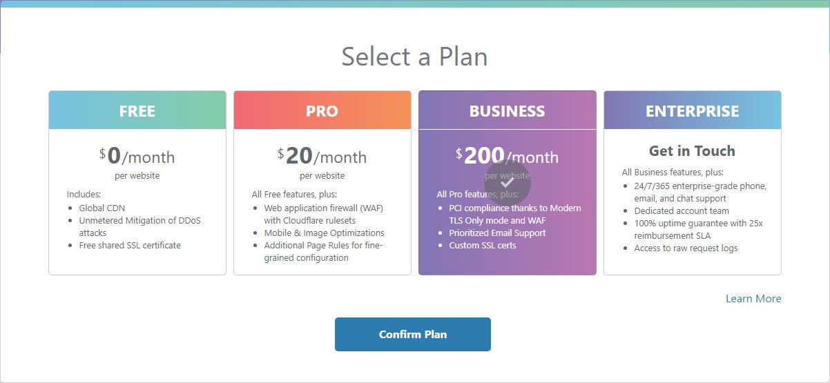 Capture d'écran de l'étape 2 de l'installation du CDN de Cloudfare sur votre site.