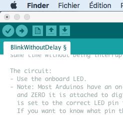Les icones principales de l'éditeur Arduino