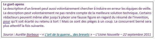 Source : Aurélie Barbaux «L'art de la guerre... des brevets».