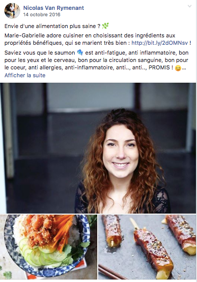 Exemple d'une publication sur la page Facebook de Menu Next Door