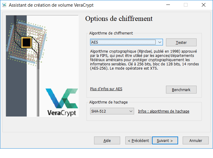 Options de chiffrement
