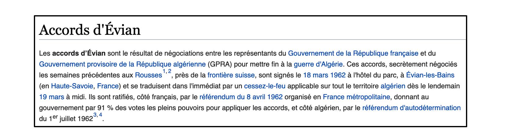 La page Wikipédia des accords d'Evian