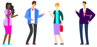 Image de 4 personnes pour représenter des collègues.