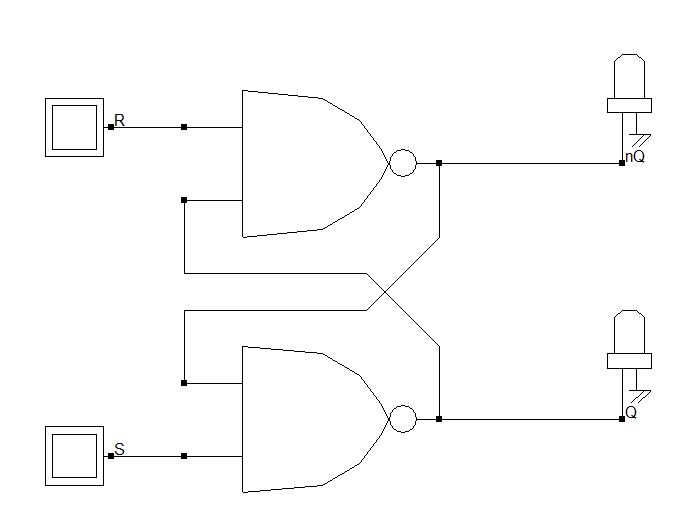 Schéma électrique de la bascule RS à base de portes NAND à 2 entrées