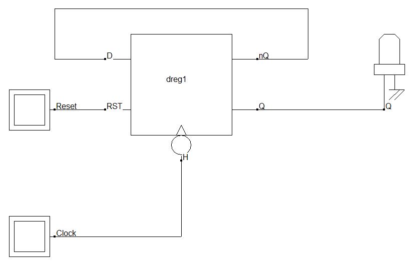 Bascule D connectée en diviseur par deux