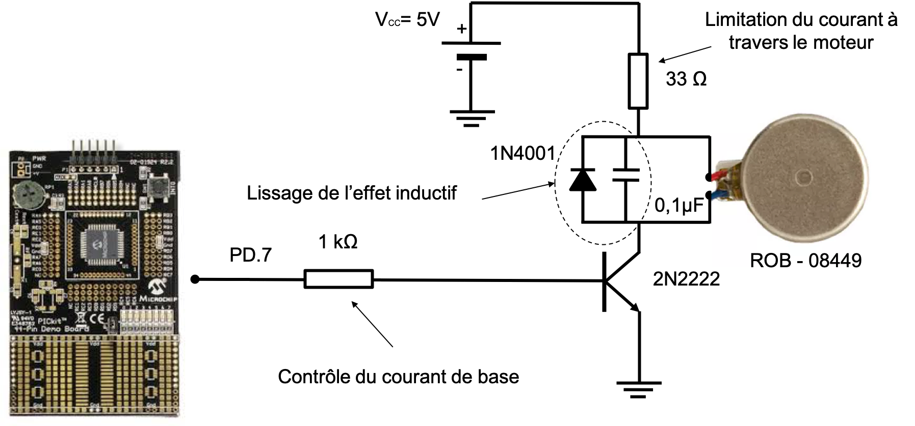 Connection d'un petit moteur à courant continu, à la carte de développement à microcontrôleur