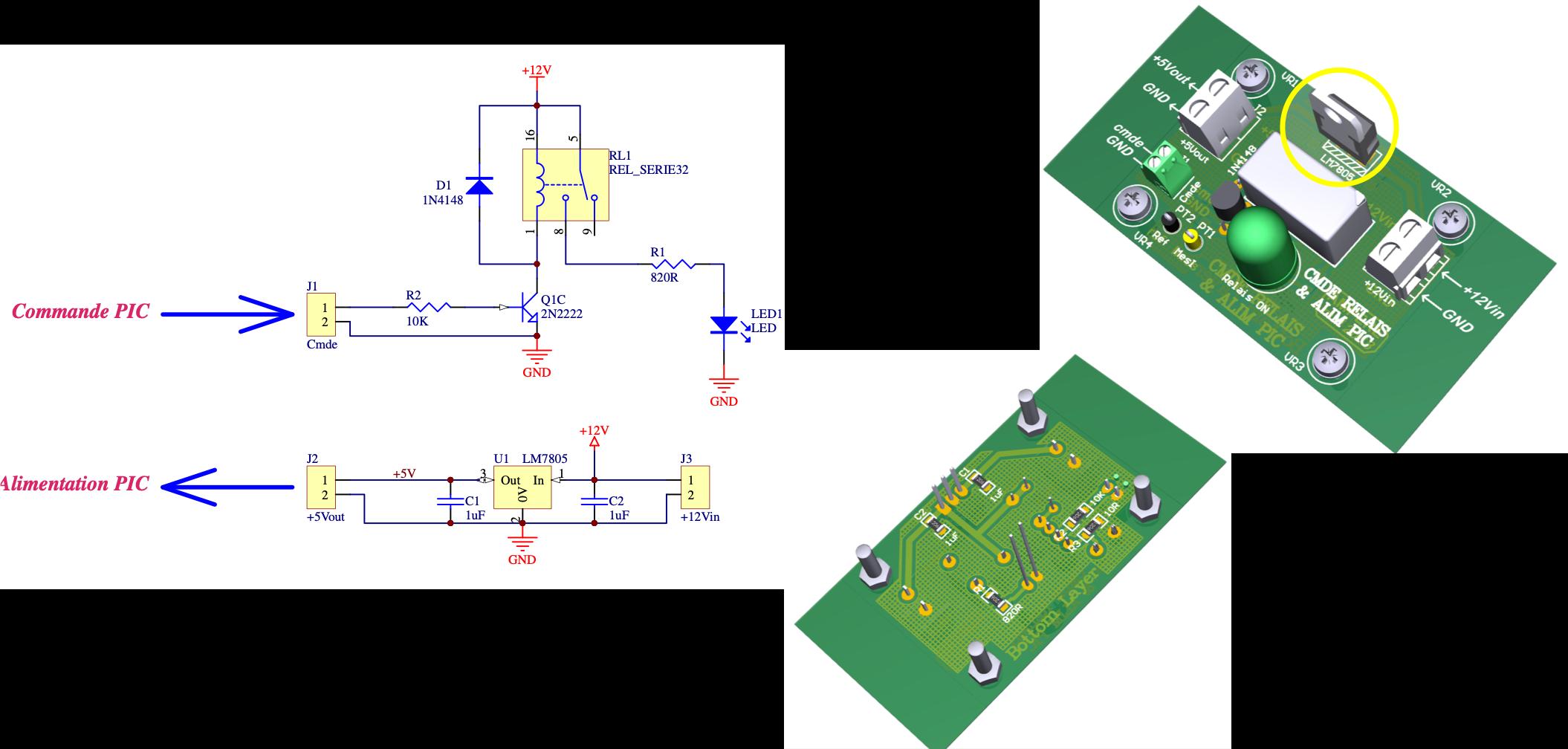 Carte d'interface pour la commande d'un relais à contacts secs et son schéma électrique