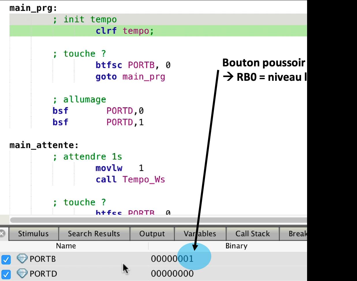 Code d'activation du bit 7 du port D à partir d'un bouton poussoir