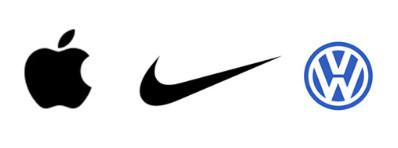 Les logos Apple, Nike et Volkswagen