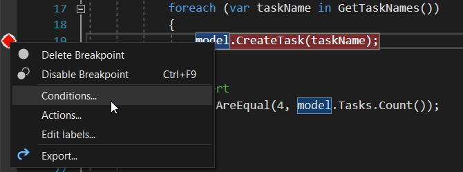 Menu for defining a condition on a breakpoint