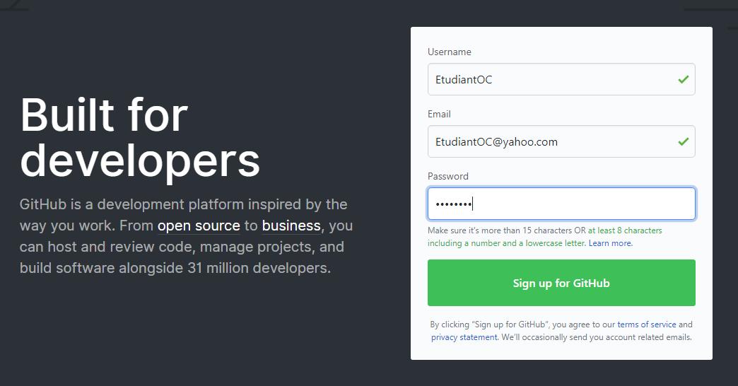 Inscription GitHub