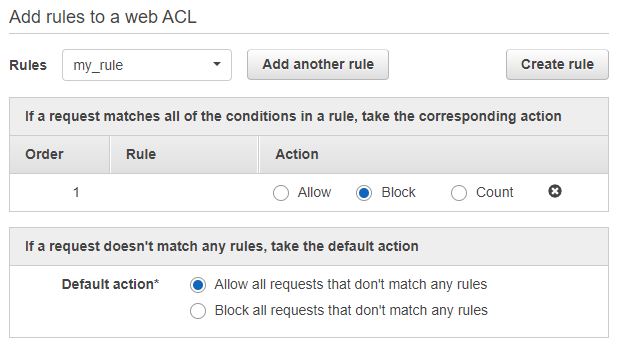 Add rules to a web ACL