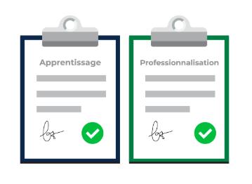Image avec deux contrats pour représenter qu'OpenClassrooms propose bien les deux.