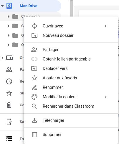 Clic droit sur un dossier dans Google Drive - Capture d'écran