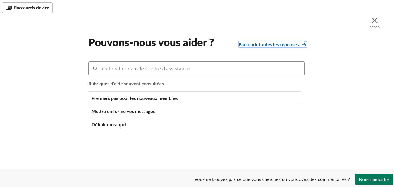 L'aide sur Slack - Capture d'écran