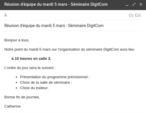 Un exemple de mail sous Gmail - Convocation à une réunion d'équipe - Capture d'écran