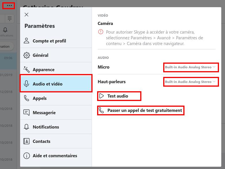 Paramètres audio et vidéo dans Skype - Capture d'écran