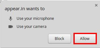 Pour autoriser appear.in à utiliser votre microphone et votre caméra - Capture d'écran