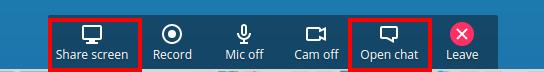 Partage d'écran et accès au chat au bas de la fenêtre d'appear.in (https://appear.in/) - Capture d'écran