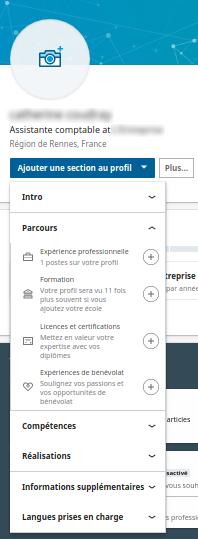 La liste des sections disponibles pour vous présenter sous LinkedIn - Capture d'écran