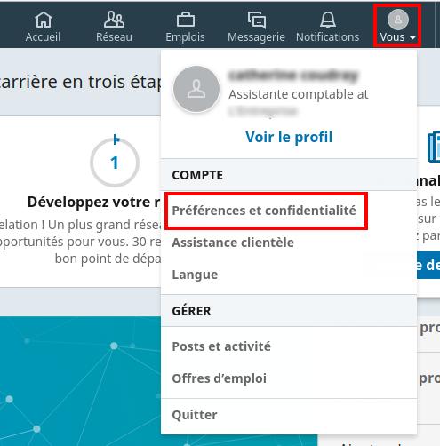 Accès à vos paramètres sur LinkedIn - Capture d'écran