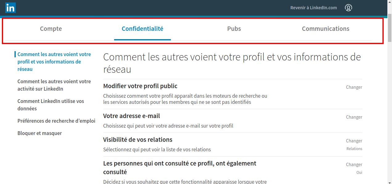 Les paramètres à régler sur Linkedin - Capture d'écran