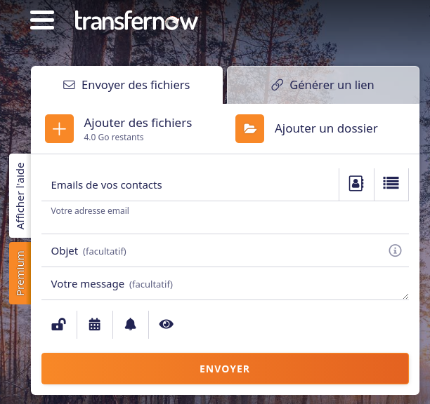 L'interface simplissime de transfernow - Capture d'écran