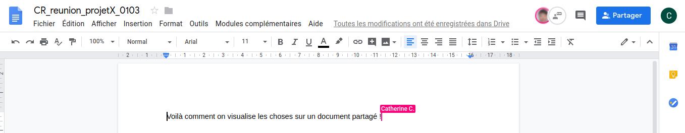 Document texte partagé sur Google Drive - Capture d'écran montrant l'image du collaborateur et son curseur.
